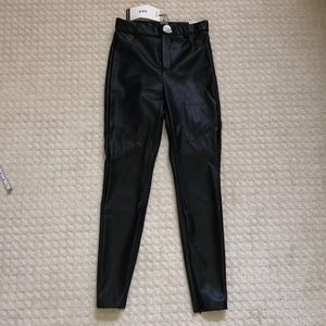 NWT Zara Trafaluc Pleather Black Leggings - M